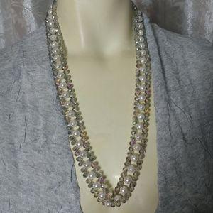 Designer Glass & Pearls Necklace